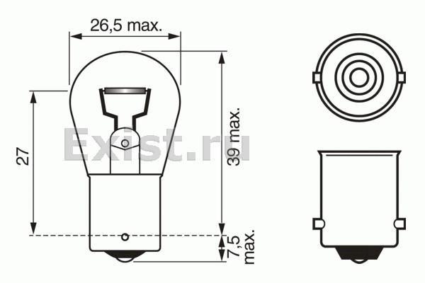 Bosch 1987302526 ЛАМПА 24V 15W (коробка/10шт) кр.10
