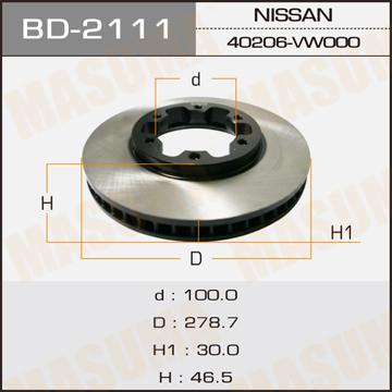 Masuma BD-2111 Диск тормозной front ATLAS/ F24 (упаковка 2 шт)