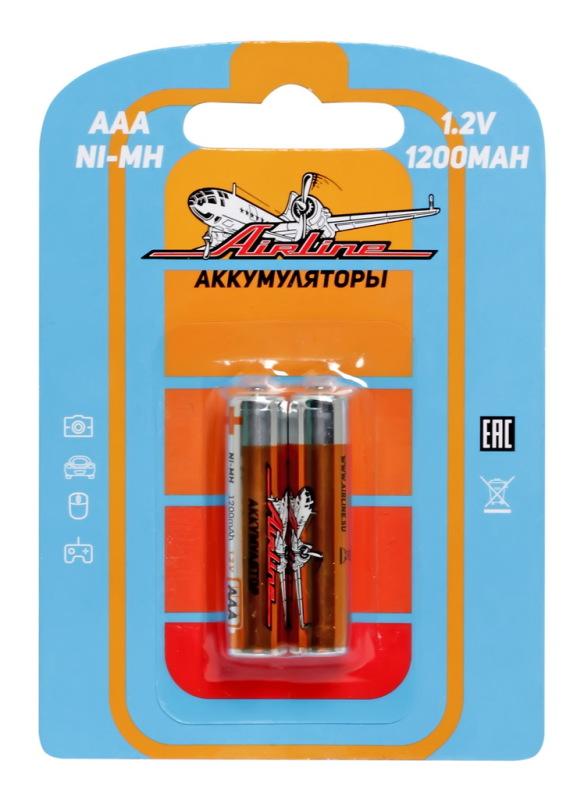 AIRLINE AAA-12-02 Батарейки AAA HR03 аккумулятор Ni-Mh 1200 mAh 2шт.