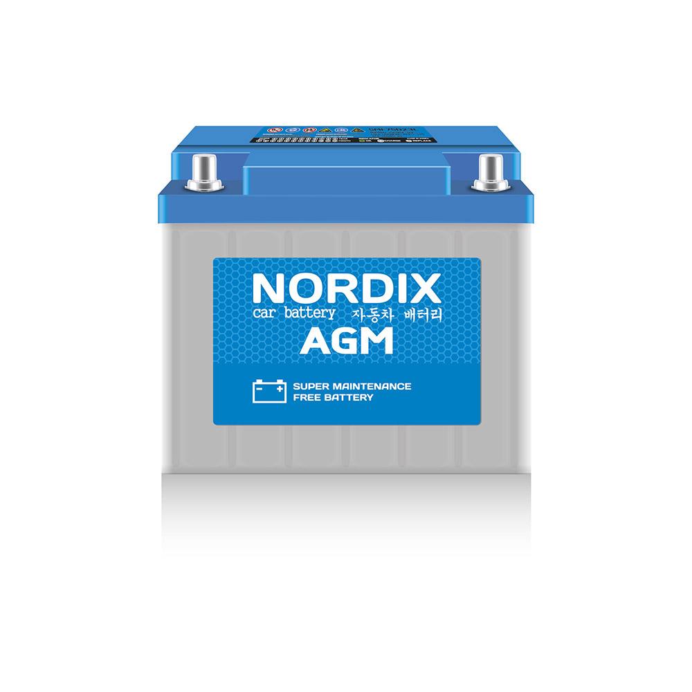 NORDIX AGM L2.NDX АКБ AGM 60 А/ч L (обр.) ССА 680А 245*175*190 НЕобслуж. (1/48)