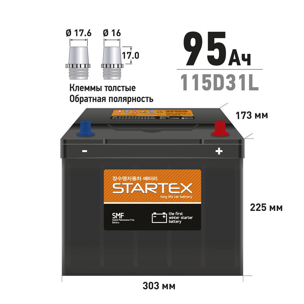 STARTEX SMF115D31L.STX АКБ 95 А/ч L (обр.) ССА 750А 310*170*200 НЕобслуж. (1/60)