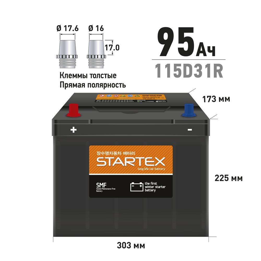 STARTEX SMF115D31R.STX АКБ 95 А/ч R ССА 750А 310*170*200 НЕобслуж. (1/60)