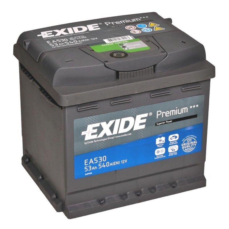 EXIDE EA530 Аккумуляторная батарея Premium 53Ah 540A 207x175x190 (-/+)