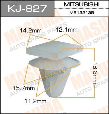 Masuma KJ-827 Клипса крепежная 827-KJ (уп.50шт)