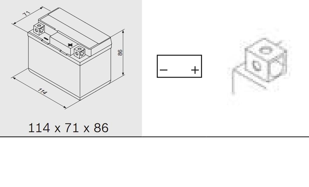 Bosch 0092M60010 Аккумулятор M 6 AGM technology - 12 volt (M6 001), 3 Ач Y5 114x71x86