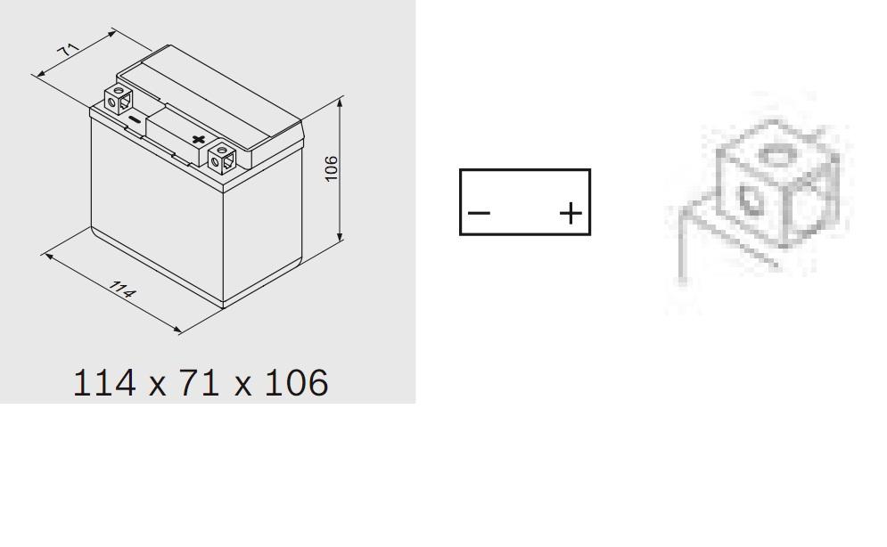Bosch 0092M60040 Аккумулятор M 6 AGM technology - 12 volt (M6 004), 4 Ач Y5 114x71x106