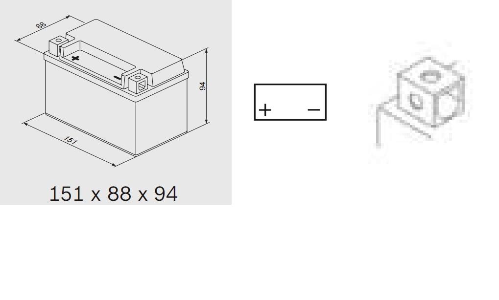Bosch 0092M60070 Аккумулятор M 6 AGM technology - 12 volt (M6 007), 6 Ач Y5 151x88x94