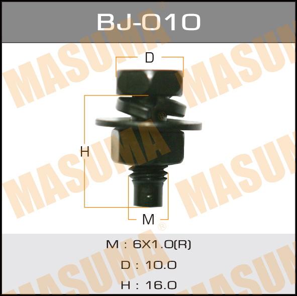 Masuma BJ-010 Болт с гайкой М 6x16x1.0, уп.6шт черн