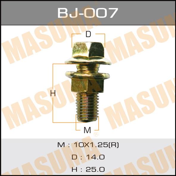 Masuma BJ-007 Болт с гайкой М10x25x1.25, уп.2шт